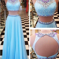Custom Made A Line 2 Pieces Blue Long Lace Prom Dress, Lace Formal Dress