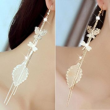 1 Pair Rhinestones Inlaid Butterfly Dragonfly Leaf Dangle Earrings Gold Silver
