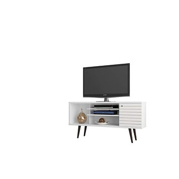 "Liberty 53.14"" Mid Century - Modern TV Stand w/ 5 Shelves & 1 Door w/ Solid Wood Legs-White"