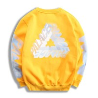 PALACE Fashion New Bust Letter Print And Sleeve And Back Letter Print Personality Sports Leisure Long Sleeve Top Sweater Yellow