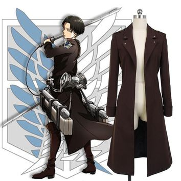 Cool Attack on Titan : Wings of Counter Levi Cosplay Trench Coat Uniform Anime no  Long Jacket Halloween Costumes AT_90_11