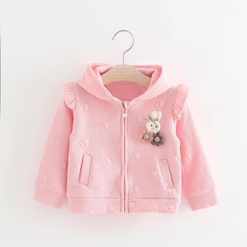 Babies Ruffle Children Hooded Jackets Baby Cute Rabbit Flower Breasted Coat Kids Pearl Button Outerwear Jackets Cartoon Clothes