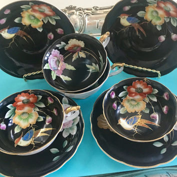 4 Vintage Tea Cups, Black Teacups Set, Tea for Four, Shabby Chic Decor, Vintage Kitchen, Hand Painted Occupied Japan Tea Cups, Wedding Gift