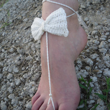 Free Shipping! White Crochet Barefoot Sandals Bow Foot Jewelry Beach