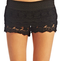 Boho Tiered Crochet Shorts | Wet Seal
