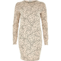 River Island Womens Pink floral print jacquard bodycon dress