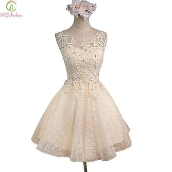 SSYFashion Sweet Champagne Lace Flower Sleeveless Short Cocktail Dress Bridal Banquet Party Gown Homecoming Dress Robe De Soiree
