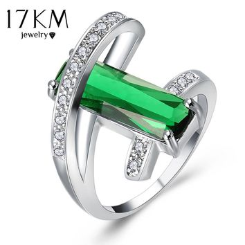 17KM Design Hollow Crystal Rings For Wedding Women Green Red Ring Anillos Fashion Engagement Jewelry Romantic Party