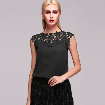 Black Floral Lace Sleeveless Blouse