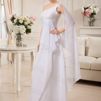 Long Flowy Chiffon Women Formal Gown One Shoulder White Prom Dress with Beads Custom Size
