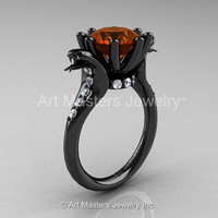 Art Masters Cobra 14K Black Gold 3.0 Ct Brown and White Diamond Engagement Ring R602-14KBGDBRD