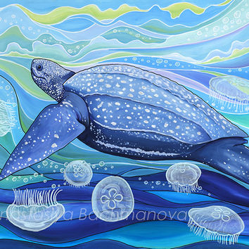 Leatherback Sea Turtle Original Acrylic Painting