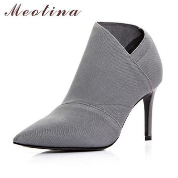 Meotina Ankle Boots Fashion Women Boots Genuine Leather Boots Pointed Toe Stiletto Hig