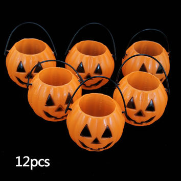 Promotion 12PCS  Vintage Pumpkin Jack O Lantern Light Goodie Bucke Halloween Bar Decoration