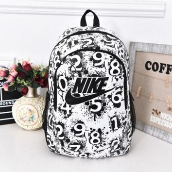 """""""Nike"""" Sport Hiking Backpack College School Travel Bag Day pack number White"""