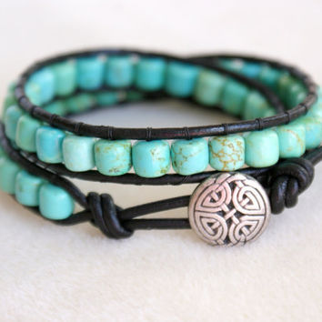 Green Turquoise Bohemian beaded leather wrap bracelet Celtic Knot, 2x Wrap, boho chic Chan Luu style, double wrap, trendy jewelry, Scottish