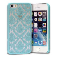 iPhone SE Case, GreatShield TACT Series Design Pattern Rubber Coating Ultra Slim Fit Hard Case Cover for Apple iPhone SE / 5S / 5 (Damask - Teal)