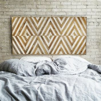 Wood Wall Art | Reclaimed Wood Wall Art | Queen Headboard | Wood Headboard | Geometric Wood Art | Large Art | Wood Wall Decor | Wood Decor