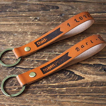 Custom Personalized Name Leather Keychain - Handcrafted Mom Dad Kid Family Initial Keyring, Key Fob, Tag, Hand Stamped, Engraved name #Brown