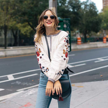 Floral Embroidered Boho Blouse