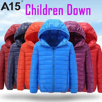 NEW Brand Hot High Quality 2016 Winter Child Boy Down Jacket Parka Big Girl Thin Warm Coat 13 14 15 Year Light Hooded Outerwears