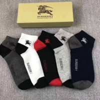 Burberry New Fashion Letter Print Men And Women Socks 5 Pairs Of Socks Boxed Five Color