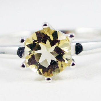 Sterling Silver Citrine Solitaire Ring, November Birthstone Ring, Citrine Solitaire Ring, Yellow Citrine Ring