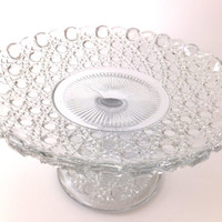 Glass cake stand / cake pedestal - antique George Davidson Pressed Glass Comport, Wedding Sweet Table