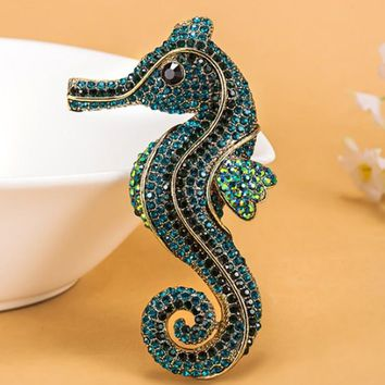 Kawaii Bow Seahorse Animal Brooch For Men Colar Masculino Vintage Broache Fashion Rhinestone Crystal Hats Accessories Hijab Pin