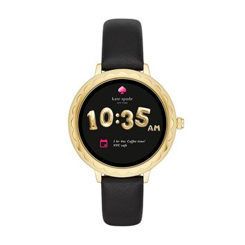 kate spade new york, Women's Smartwatch, Scallop Gold-Tone Stainless Steel with Black Leather, KST2001