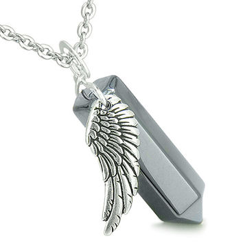 Amulet Angel Wing Magic Wand Crystal Point Hematite Healing and Pendant 18 Inch Necklace