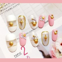 New arrive 24pcs gold rivet/opal rhinestone parts False Nail Art With Glue Pre Designed Fake Nail Tips Artificial Nails Designs