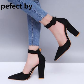 female Zapatos Mujer chunky high heels ladies pointed toe pumps 8c3971c521ad