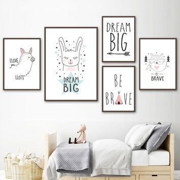Cartoon Rabbit Fox Alpaca Dream Quotes Be Brave Nordic Posters And Prints Wall Art Canvas Painting Wall Pictures Kids Room Decor