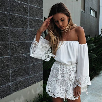 Sexy White Lace Off Shoulder Long Sleeve Jumpsuit