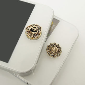 1PC Retro Rose or Sunflower iPhone Home Button Sticker Charm for iPhone 4,4s,4g,5,5c Cell Phone Charm Lady Gift