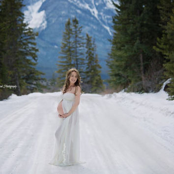 SHIPS in 3-4 DAYS! Ivory or White Butterfly Lace/Chiffon/Maternity Dress/GownPregnancy Photo Prop/Baby Shower/Photo Session Gown