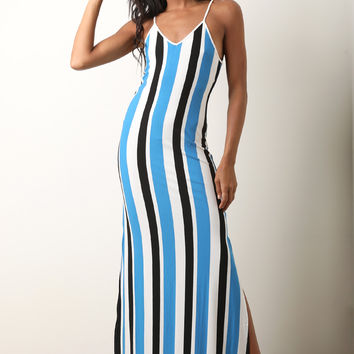 Lace-Up Back Striped Maxi Dress | UrbanOG