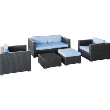 Modern Patio Furniture Malibu 5 Piece Sofa Set Espresso Light Blue Cushions