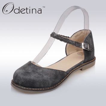 Odetina 2017 New Fashion Women Casual D'Orasy Flats Mary Jane Shoes Flat Comfortable Buckle Ankle Strap Casual Flats Round Toe