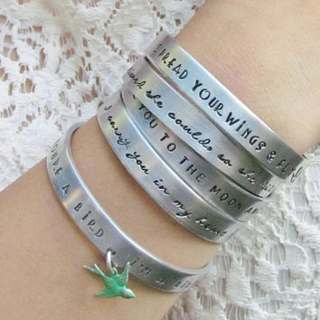 SET of 5 CUSTOM Personalized Bracelets Hand Stamped Cuff Aluminum Several Sizes Made To Order Lots of Fonts and Design Stamp Choices