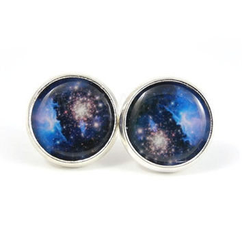 Galaxy Earrings - Blue Nebula Earrings - Stars - Planet Earrings - Space Jewelry - Sky Earrings - Dark Blue - Free Worldwide Shipping