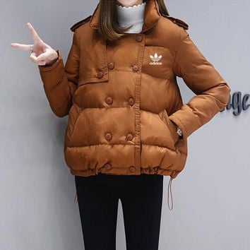 adidas women casual fashion solid color show thin double row buckle long sleeve cotton padded clothes coat