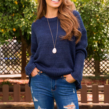 Wynne Oversized Sweater - Navy