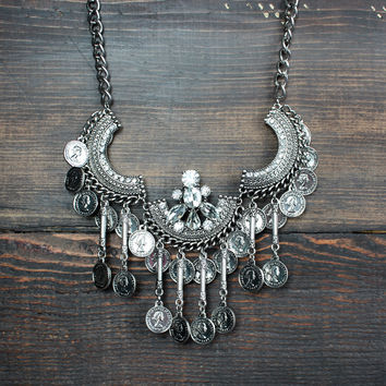 gypsy coin statement necklace with gem