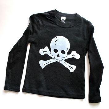 Skull T Shirt Pirate Theme Birthday Party Shirt- Long Sleeves