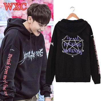 Kpop Ikon Bobby Exo Chanyeol Tao Hooded Hoodies Unisex Pentagram Printed Sweatshirt Casual Loose Hip Hop Tracksuit Moleton WXC