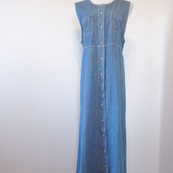 Vintage Denim Maxi Dress Long Denim Dress with Button Front Hippie Bohemian Dress Womens Large Hipster Grunge
