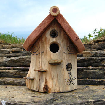 Outdoor Birdhouse Made From Cedar Log with FREE Shipping