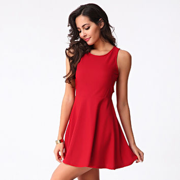 Fashion Solid Color Crisscross Backless Hollow Sleeveless Mini Dress